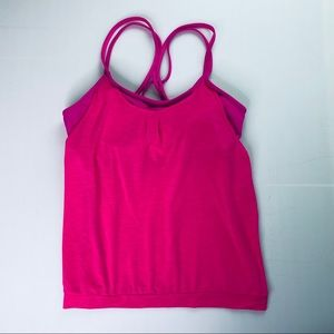 Athleta Bright Pink Tank with Built in Bra